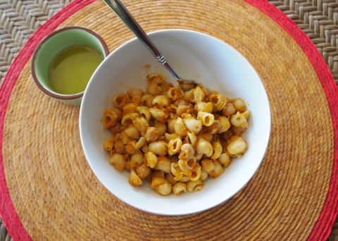 Creamy Chickpea Pasta with Garlic-Rosemary Oil