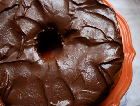 grapefruit chiffon cake with dark chocolate glaze by sweet and savory kitchens