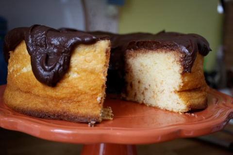 Grapefruit Chiffon Cake with Dark Chocolate Glaze