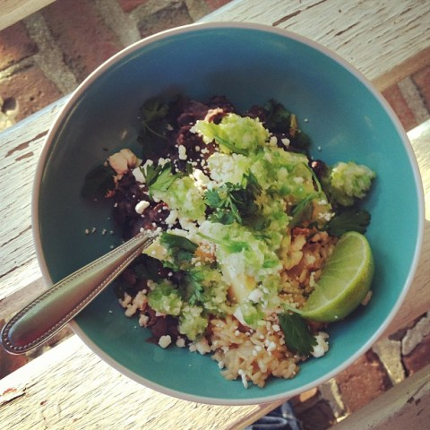 black beans-rice with ginger lime salsa