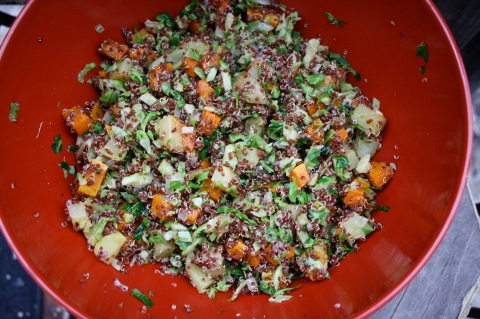 Quinoa with Roasted Vegetables and Brussels Sprouts - sweet & Savory Kitchens