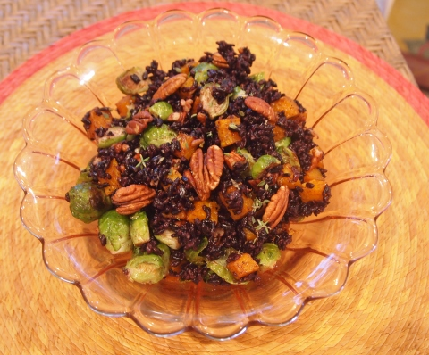 Forbidden Rice with Brussels Sprouts, Squash and Pecans