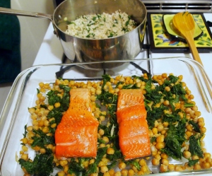 Slow Roasted Salmon with Mustard Greens and Chickpeas