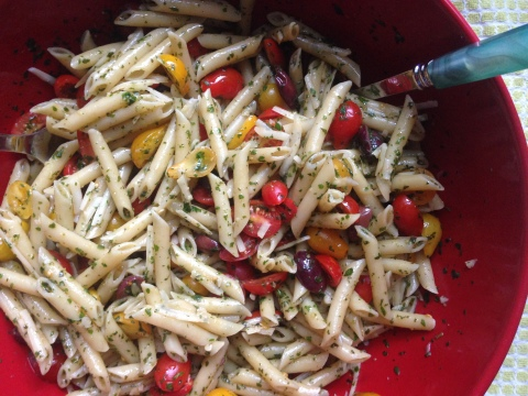 Penne with Herbs, Tomatoes, Olives and Pecorino
