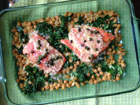 Salmon with Chick Peas and Mustard Greens - Sweet & Savory Kitchens