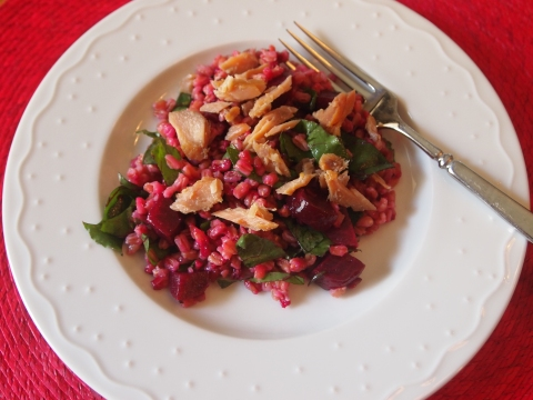Beet and Farro Salad with Smoked Trout