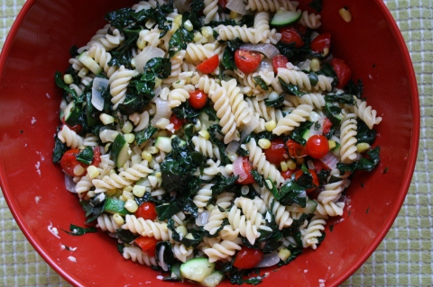 Late Summer Veggie Saute with Pasta - Sweet & Savory Kitchens