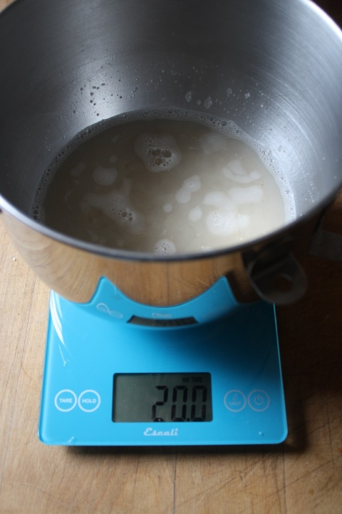 weighing ingredients